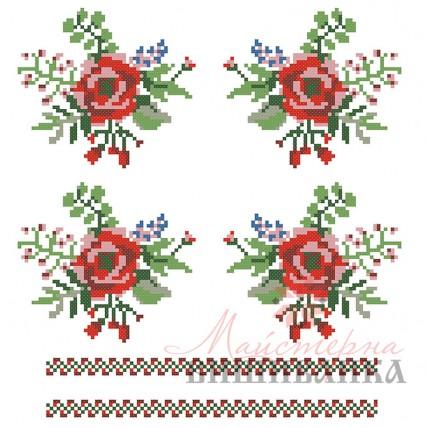 """Схема для вишивання на флізеліні """"Червоний цвіт"""""""