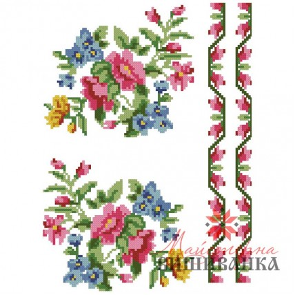 """Схема для вишивання на флізеліні """"Квіткова нота"""""""