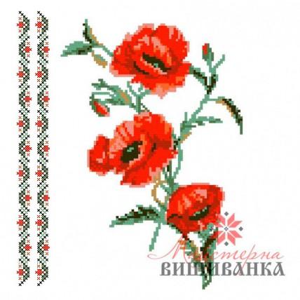 """Схема для вишивання на флізеліні """"Пристрасні маки"""" №2"""