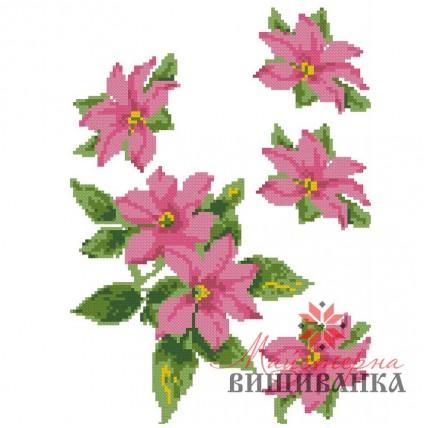 """Схема для вишивання на флізеліні """"Рожевий клематис"""" №2"""