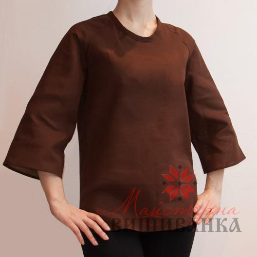 """Сорочка під вишивку """"Чарівниця"""" коричнева розпродаж"""