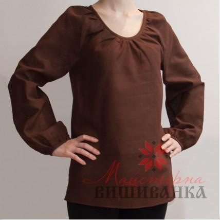"""Сорочка під вишивку """"Традиційна"""" коричнева"""