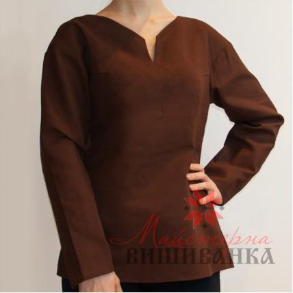 """Сорочка під вишивку """"Вишукана пані"""" коричнева розпродаж"""